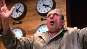 Peter Finch as Howard Beale is mad as hell